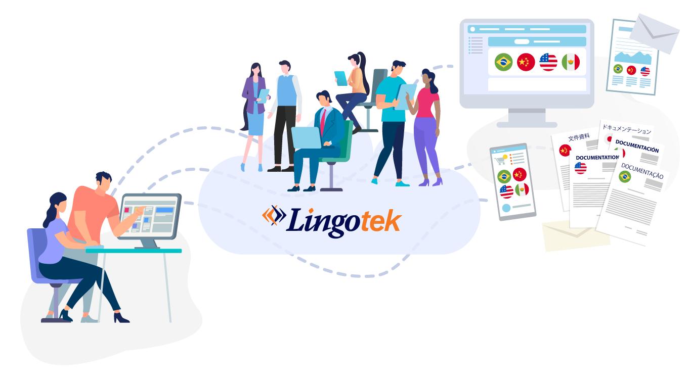 Illustration of teams working on translation