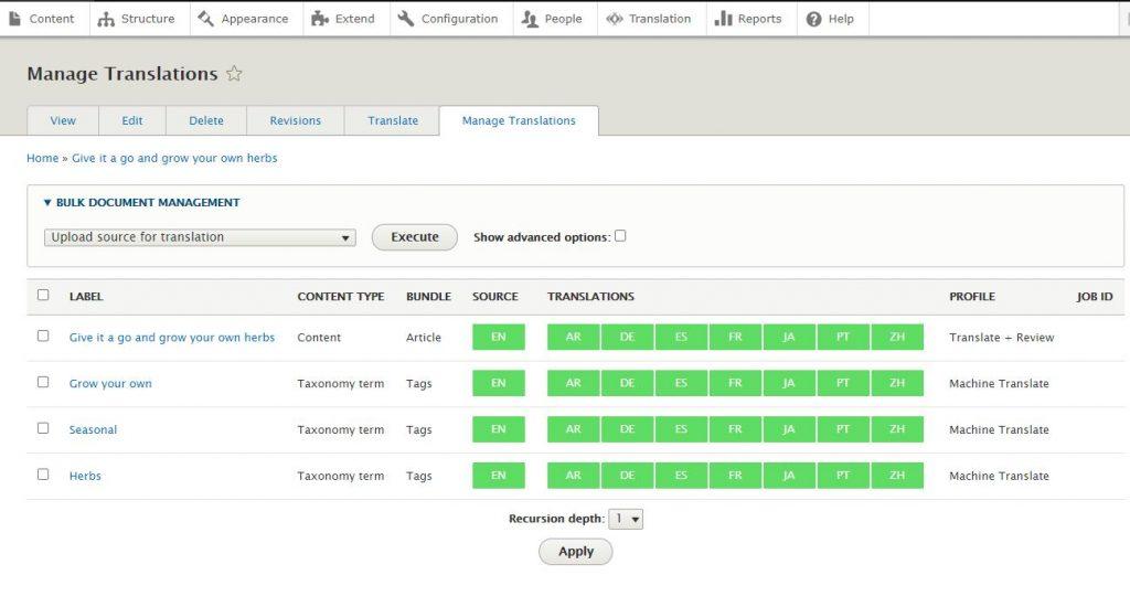 content type status screenshot of lingoteks drupal connector
