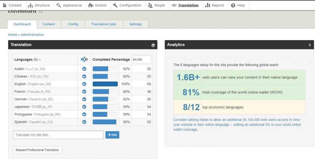 dashboard screenshot of lingoteks dashboard