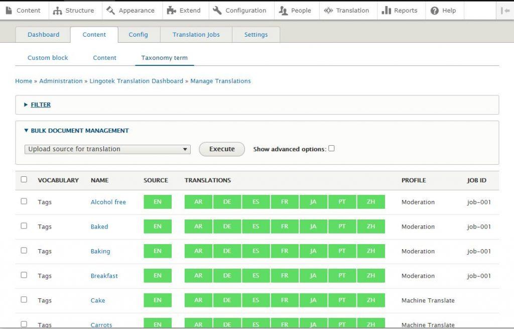 vocabulary status screenshot in Lingotecs drupal connector