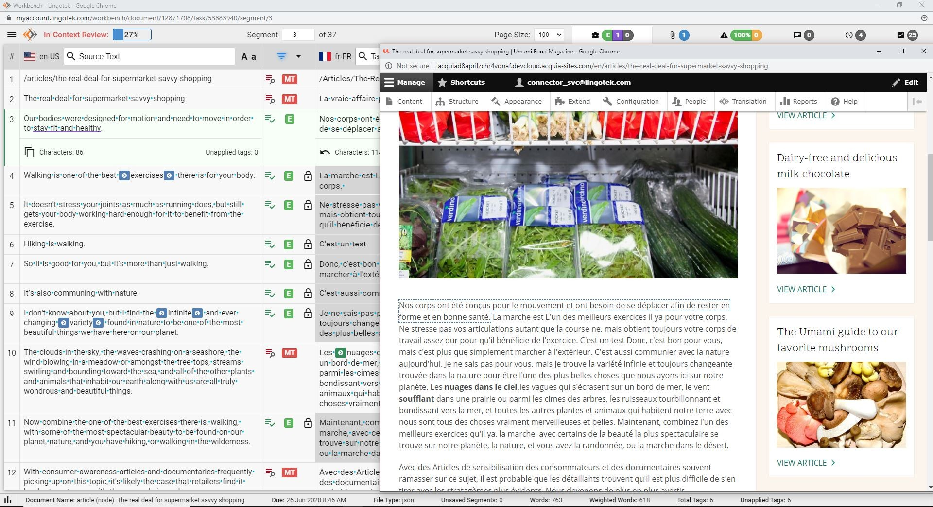dual-monitor screenshot of Lingotek's in-context translation editor