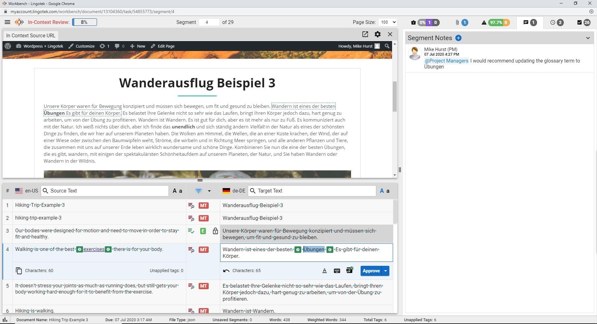 screenshot of Lingotek's in-context translation editor for WordPress
