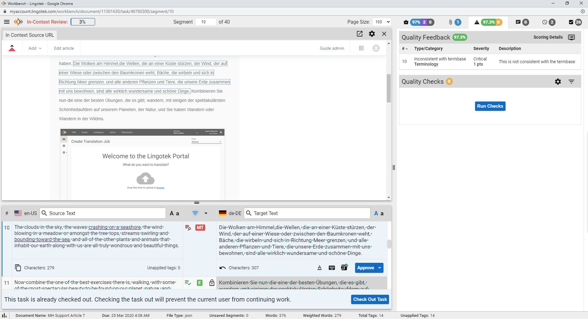 screenshot of Lingotek's in-context translation editor for ZenDesk