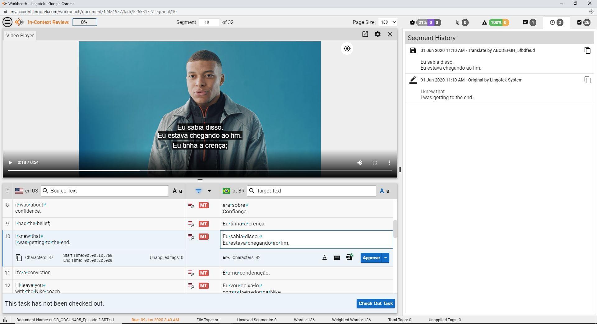 screenshot of Lingotek's in-context translation editor for video captioning