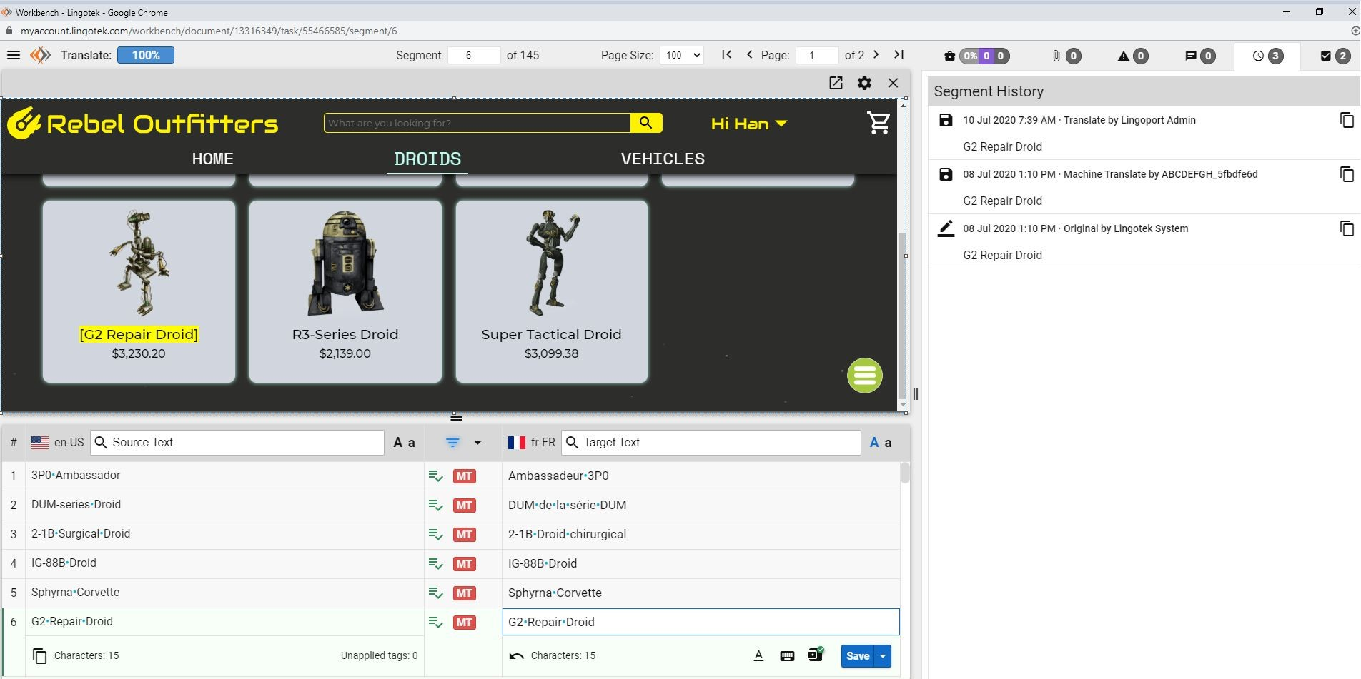 screenshot of Lingotek's in-context translation editor for software localization UI