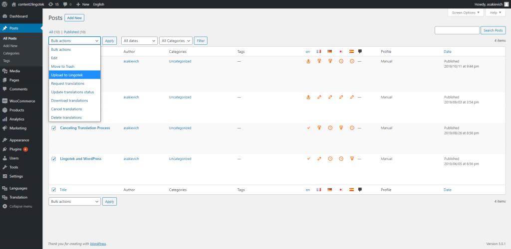 screenshot of Lingotek's translation connector for wordpress