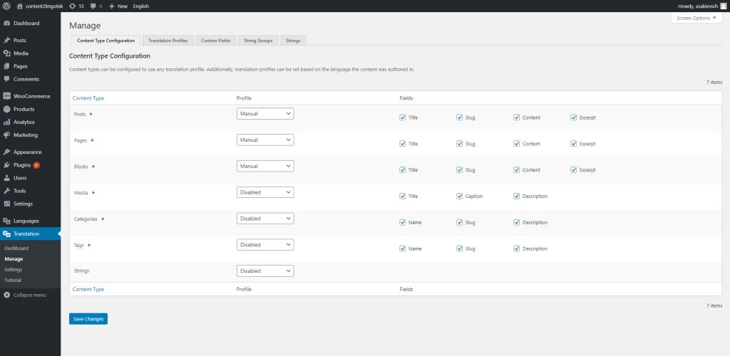 screenshot of lingotek's wordpress translation connector