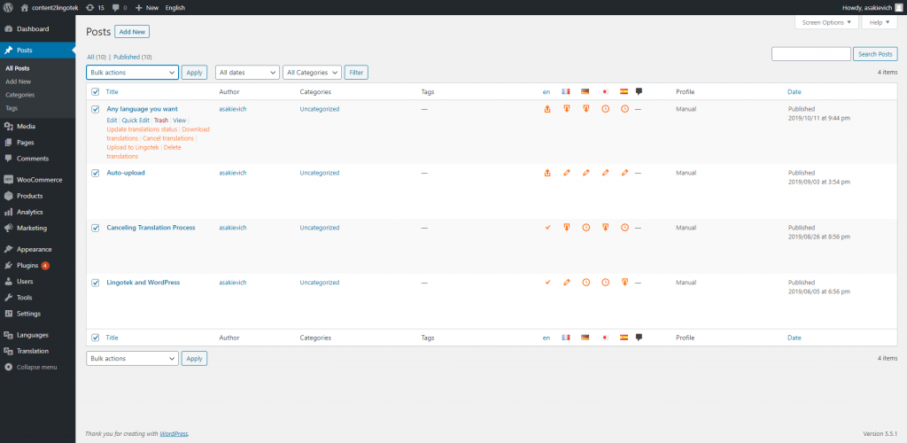 wordpress screenshot of lingotek translation connector